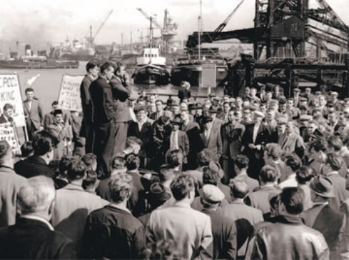 """It's absolutely shocking that dockers get £15 a week."" The Dockers Strike that lasted for six weeks, and put an end to the antiquated practice of piece work."