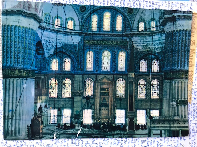 Postcard of the interior of the Blue Mosque, Istanbul