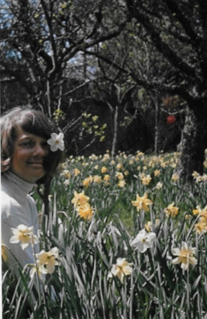 """Chump posing in the daffodils"""