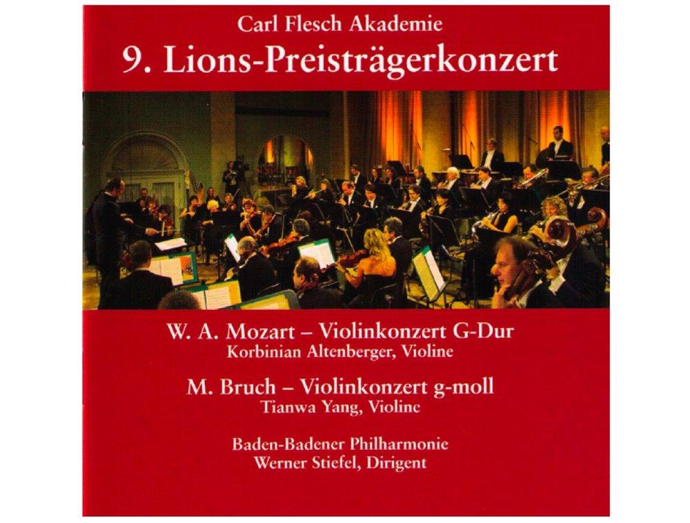 Carl-Flesch-Akademie - 9. Lions-Preisträgerkonzert 2006  Max Bruch: Violin Concerto G minor, Op.26  Tianwa Yang, Violin (Bruch) Baden-Badener Philharmonie Werner Stiefel  Label: Bella Musica BM 31.2416