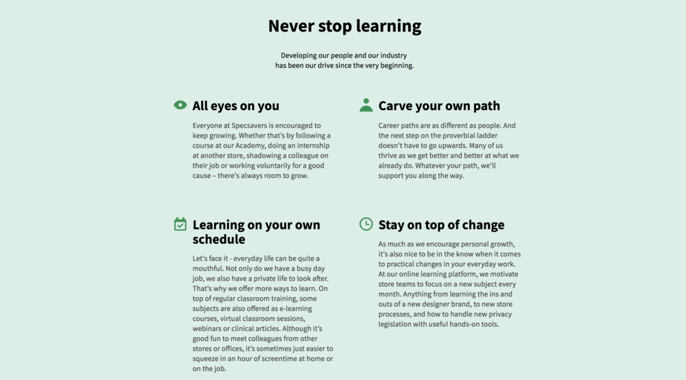 Specsavers _ never stop learning _ saintil communications