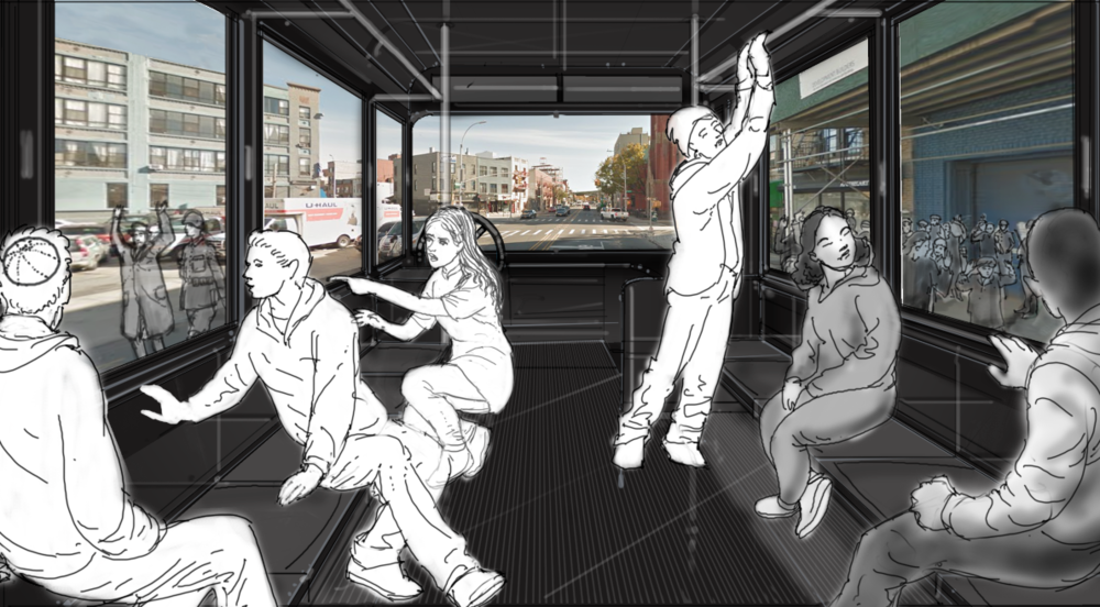 By transforming the windows on the bus into video screens, the exhibit begins with a metaphorical journey. Superimposed over the bus's windows are many historical scenes including Jews being deported as seen here.