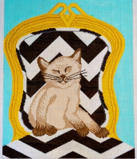 KITTEN ON CHEVRON CHAIR - KSYC102 13 Mesh Shown; also available in 18