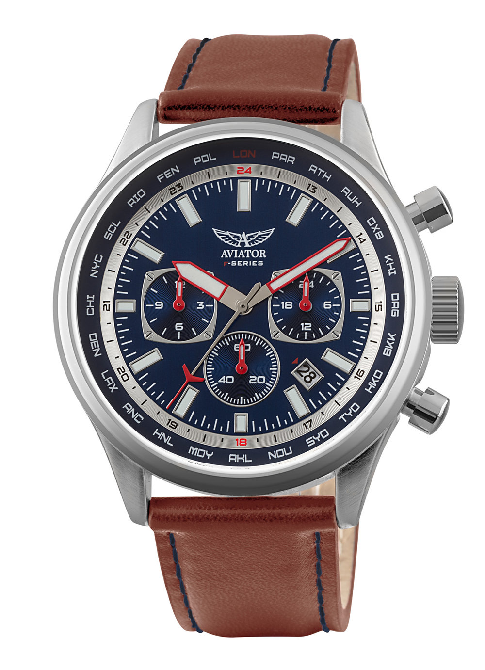 Classically styled with a double layer cream dial, 2-step chronograph, 12/24hr indicator, luminous hands and calendar. The stainless steel case has a 44mm diameter and is fitted with a high quality brown leather strap. Water resistant to 10ATM. Two year international warranty.
