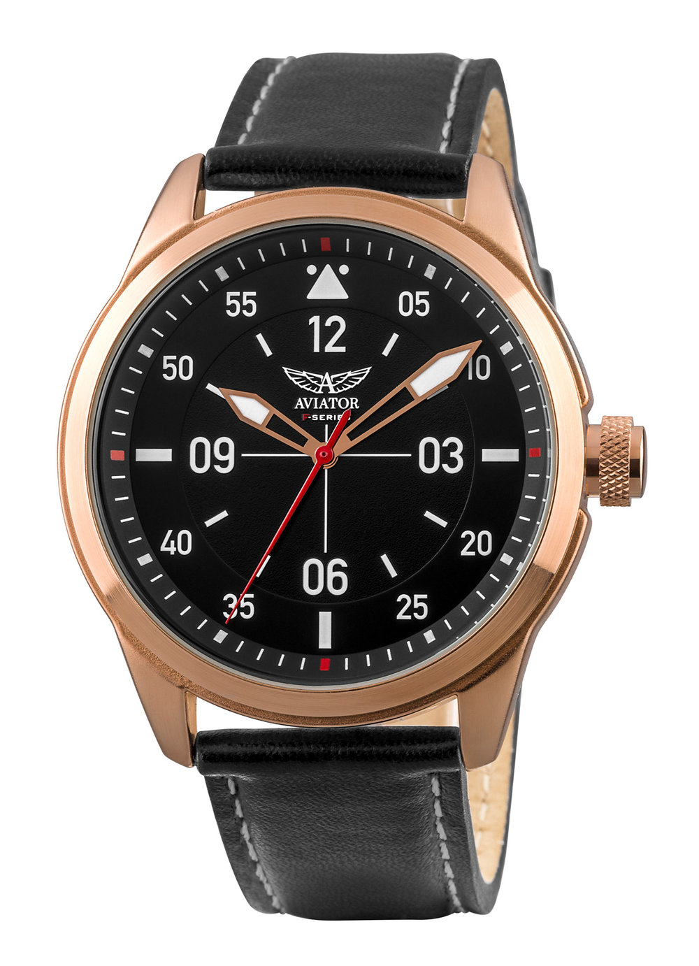 Rose Gold case. Black chronograph dial with calendar, luminous hands and hour indices. Rotating inner world time bezel. Integrated black leather strap. Water resistant to 10ATM. Two year international warranty.