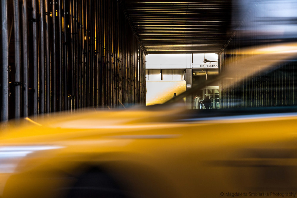 NYC rush hour and yellow taxi