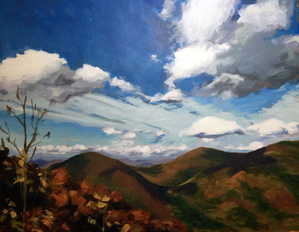 This is a favorite view of my client's.  He finds it soothing and inspriational to have on his wall - he may not be able to get out and hike every day, but this painting can bring him there in spirit.