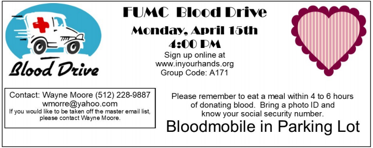 FUMC Blood Drive — First United Methodist Church of Pflugerville