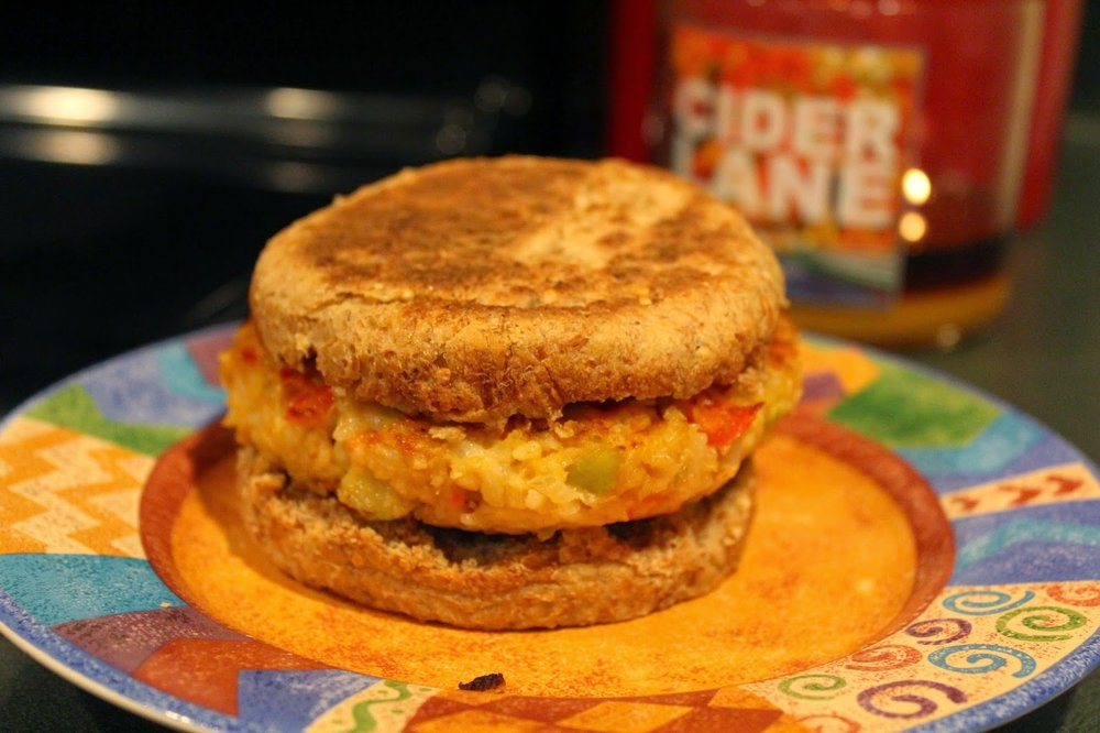 Using Ezekiel sprouted grain English muffins as a bun for our apple veggie burger