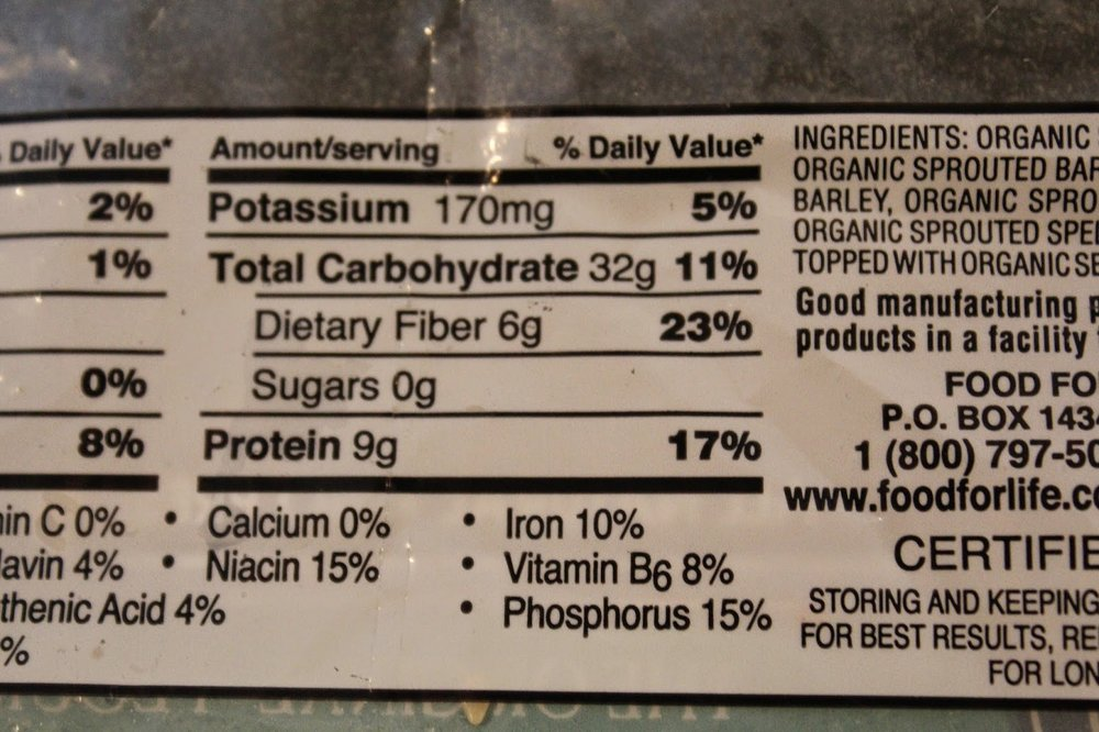Nutritional facts showing protein in Ezekiel sprouted grain English muffins