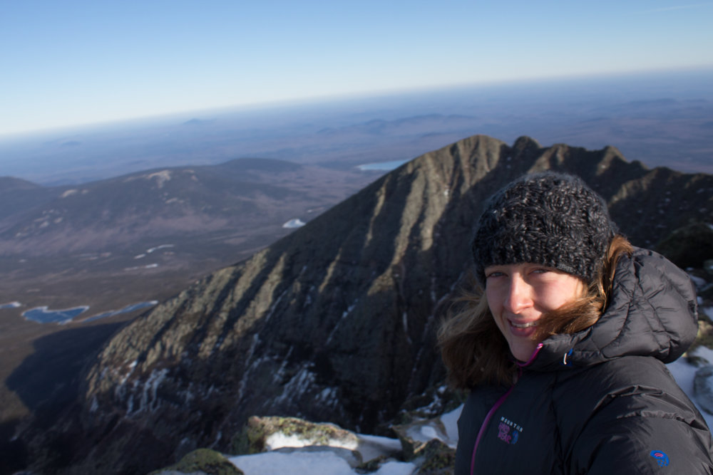 Staying warm in my Dakine Vine Beanie on Mount Katahdin.