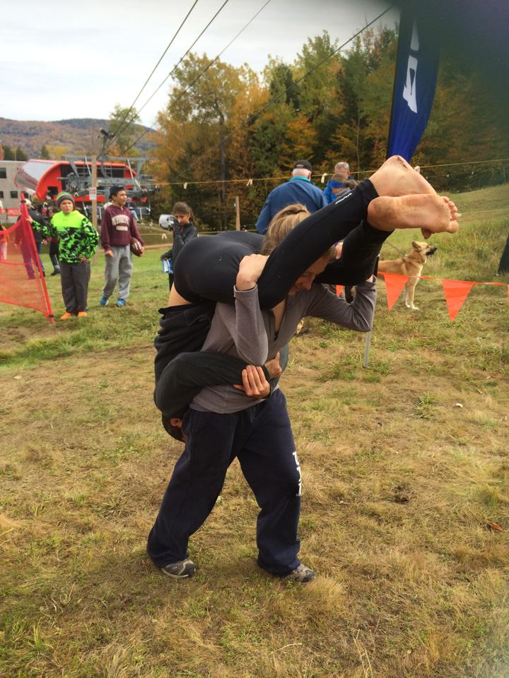 You know you're a strong team when the girl can carry the guy too!