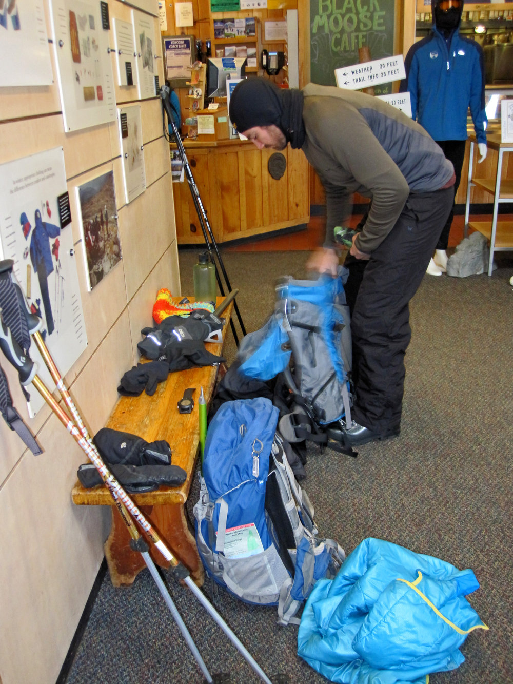 Getting everything organized inside the Pinkham Notch Visitor Center