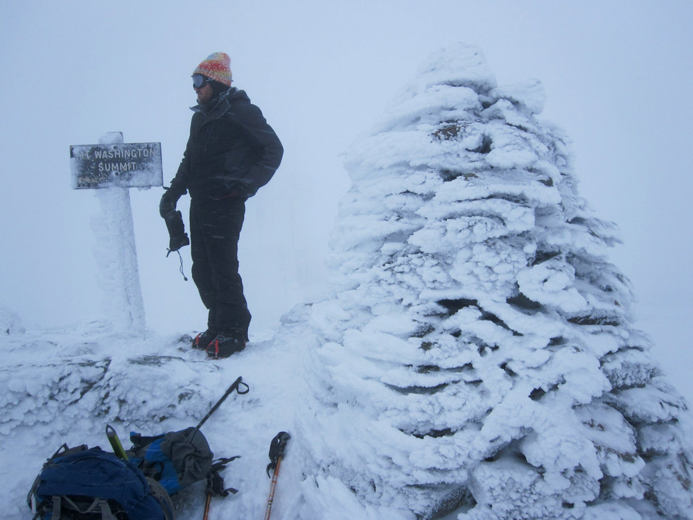 Mount Washington summit in the winter. It was windy and cold!