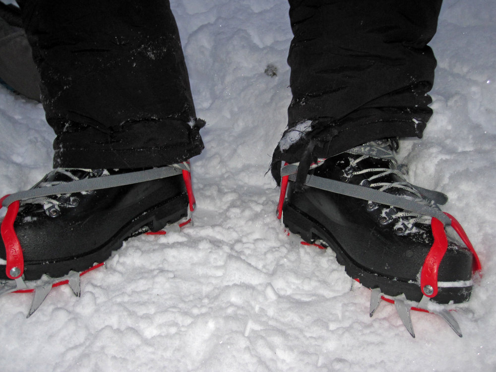 The crampons ripped Dale's snow pants