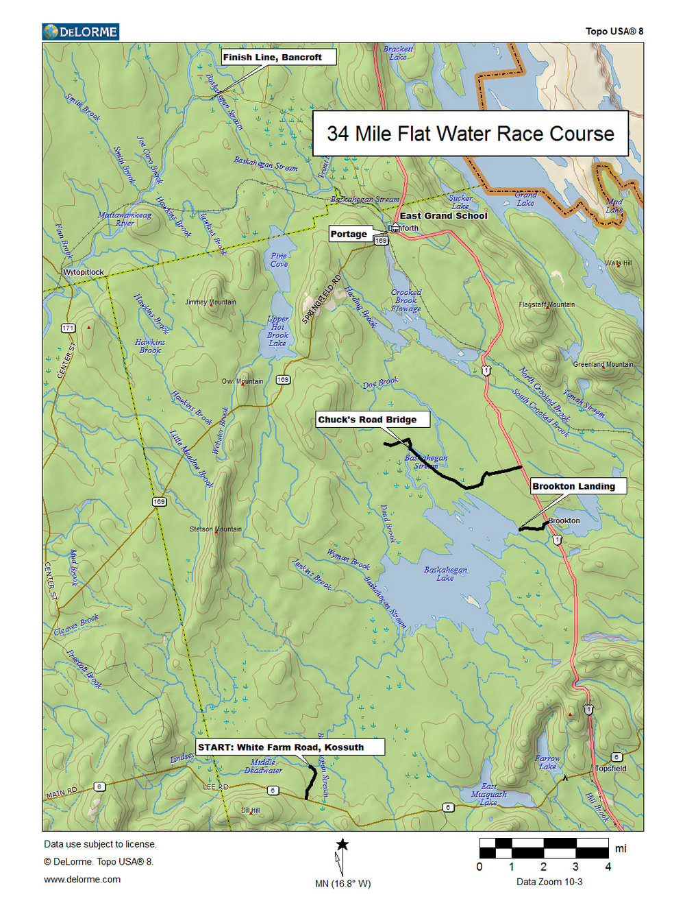 Course map for the Baskahegan Stream Canoe Race.