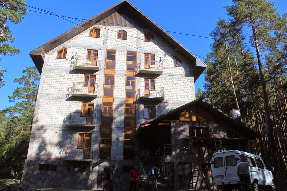Hotel at the base of Mount Cheget.