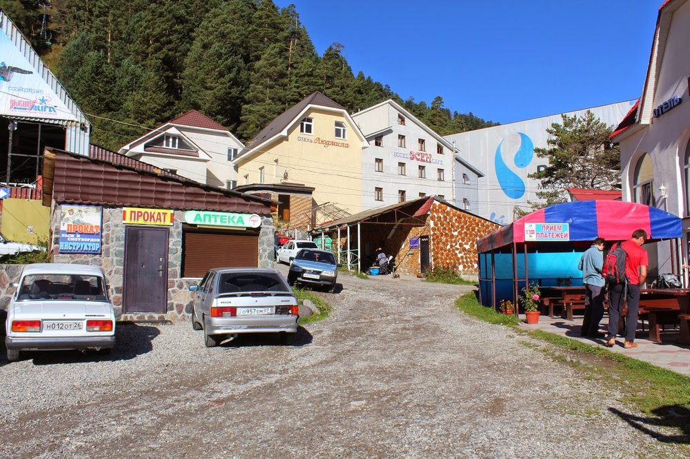 Town at the base of Mount Cheget.