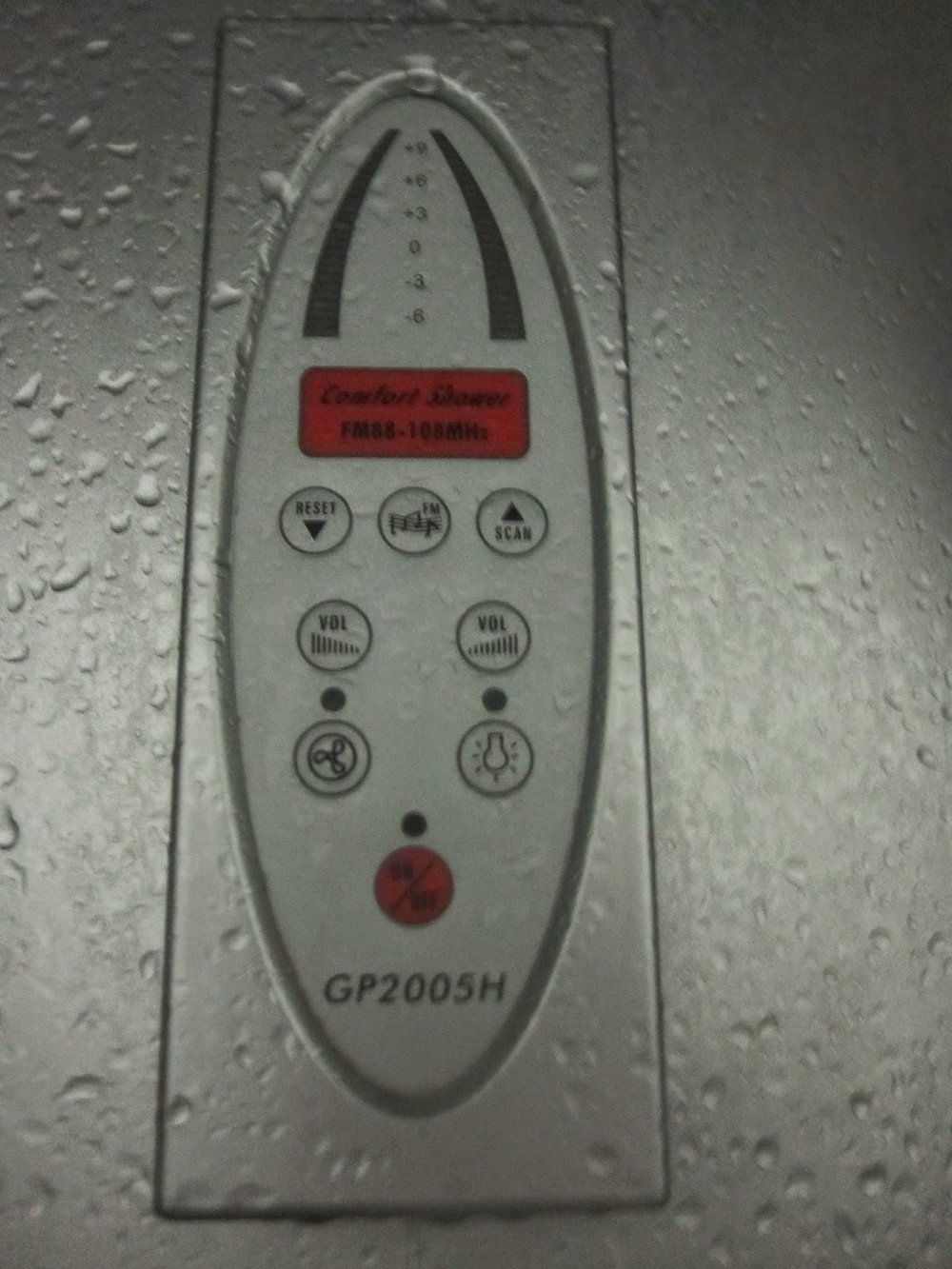 Radio in shower.