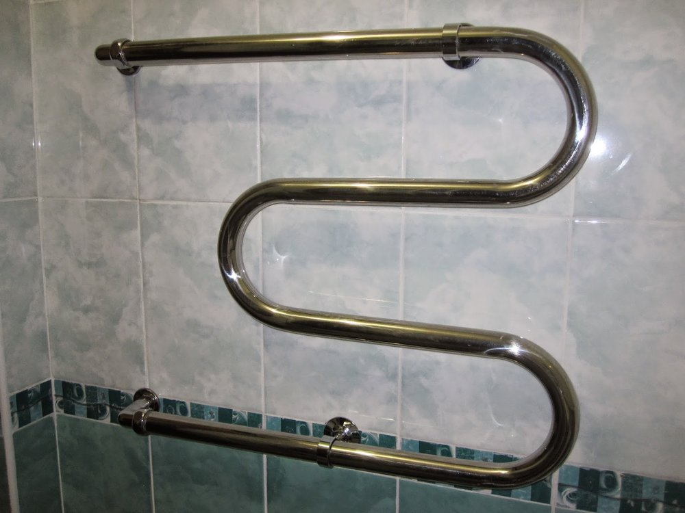 Heated towel rack in Russian hotel.