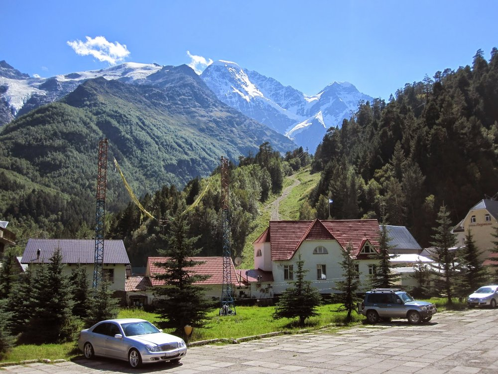 Cute town near Mount Cheget in Russia