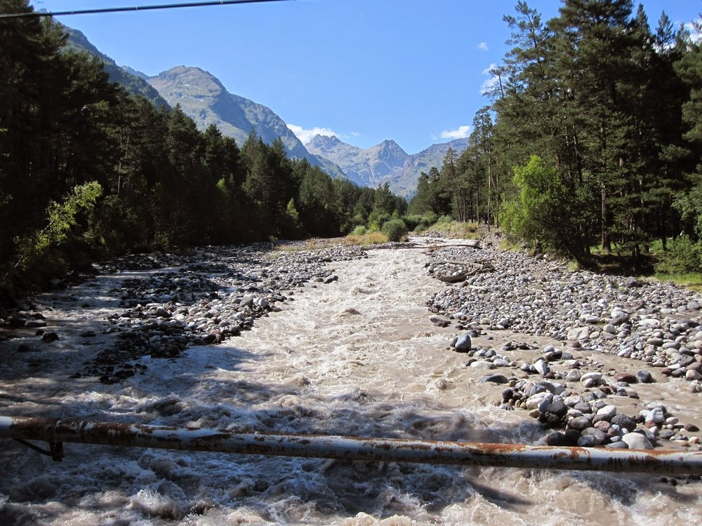 River near Mount Cheget in Russia