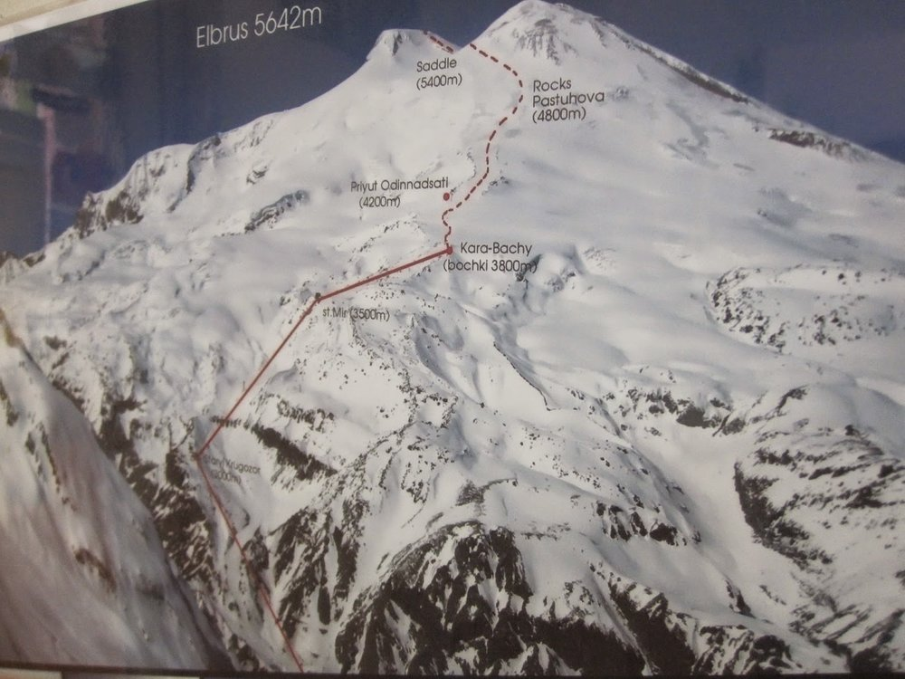 Map of route up Mount Elbrus
