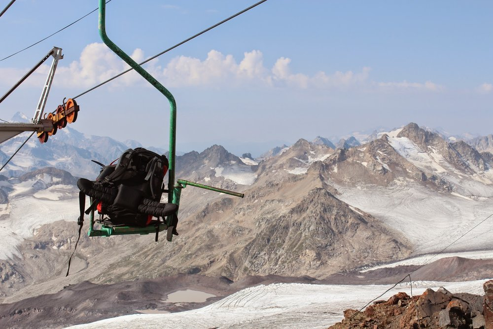 Backpack on a chairlift on Mount Elbrus