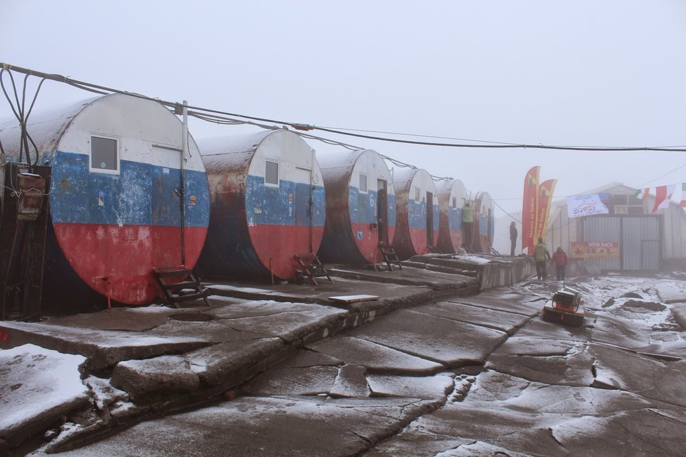 The old barrel huts on Mount Elbrus