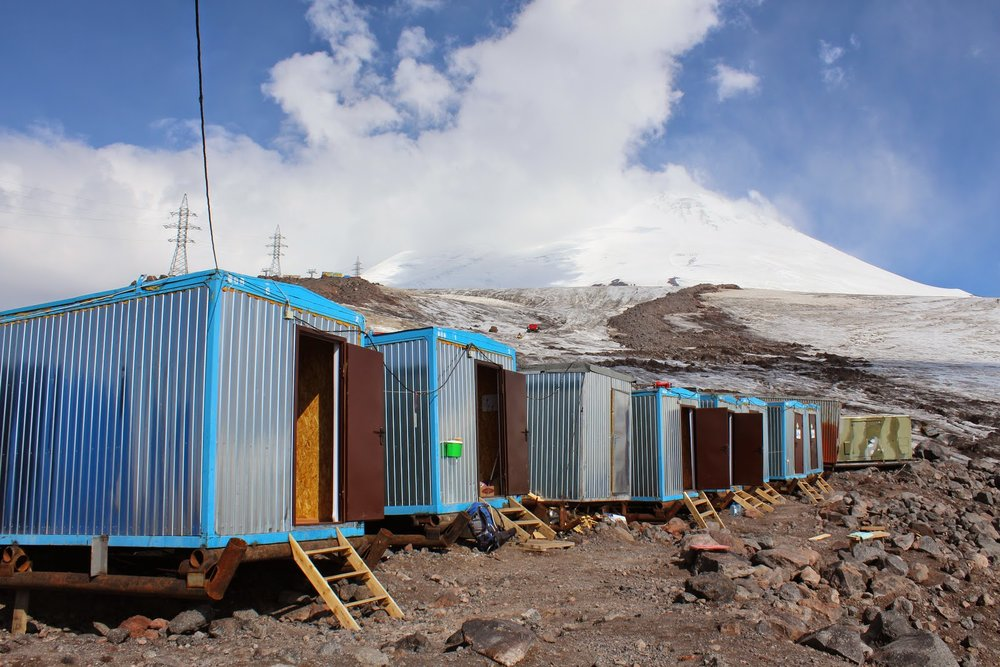The new barrel huts on Mount Elbrus