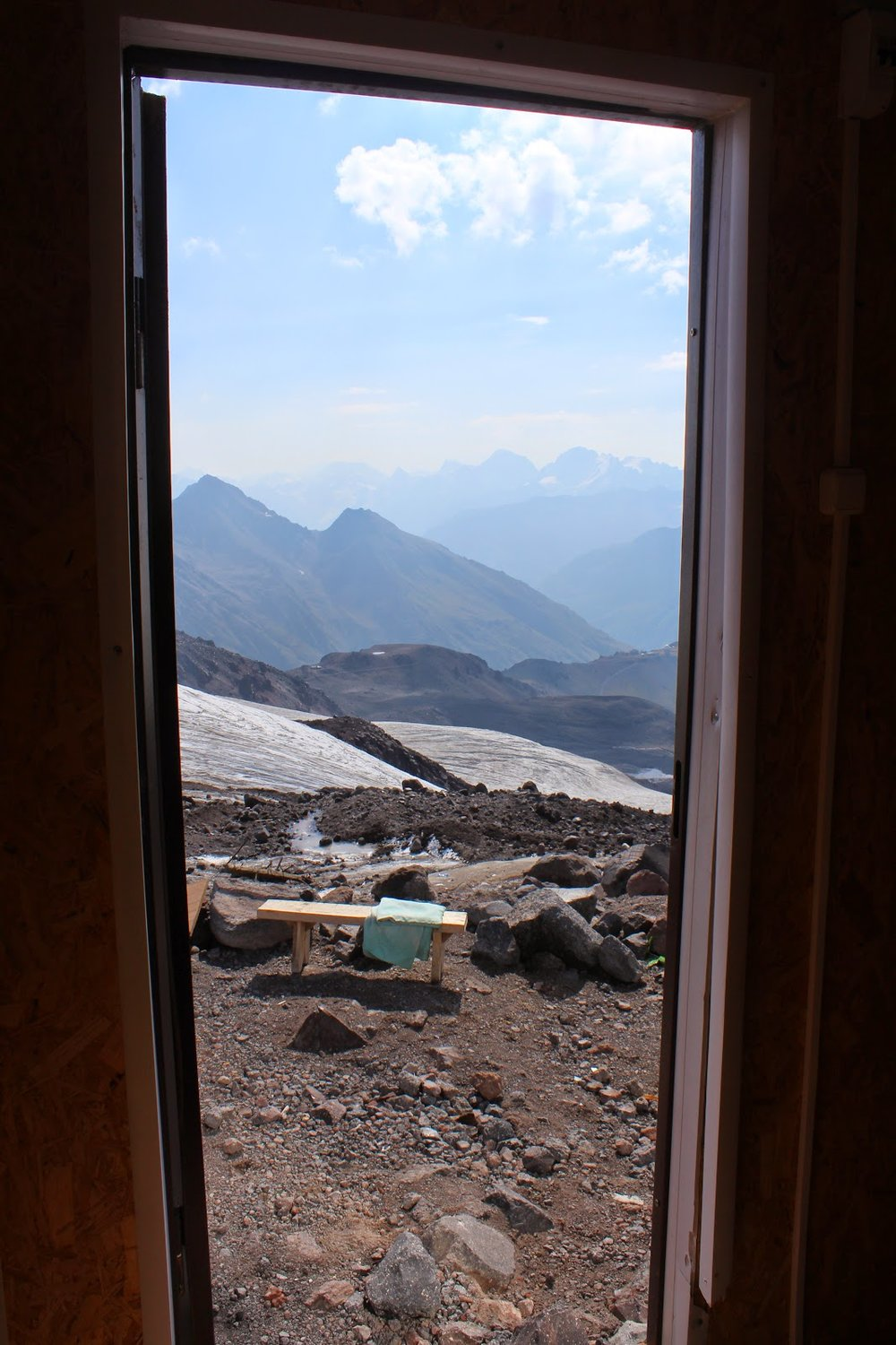 View from the new barrel huts on Mount Elbrus