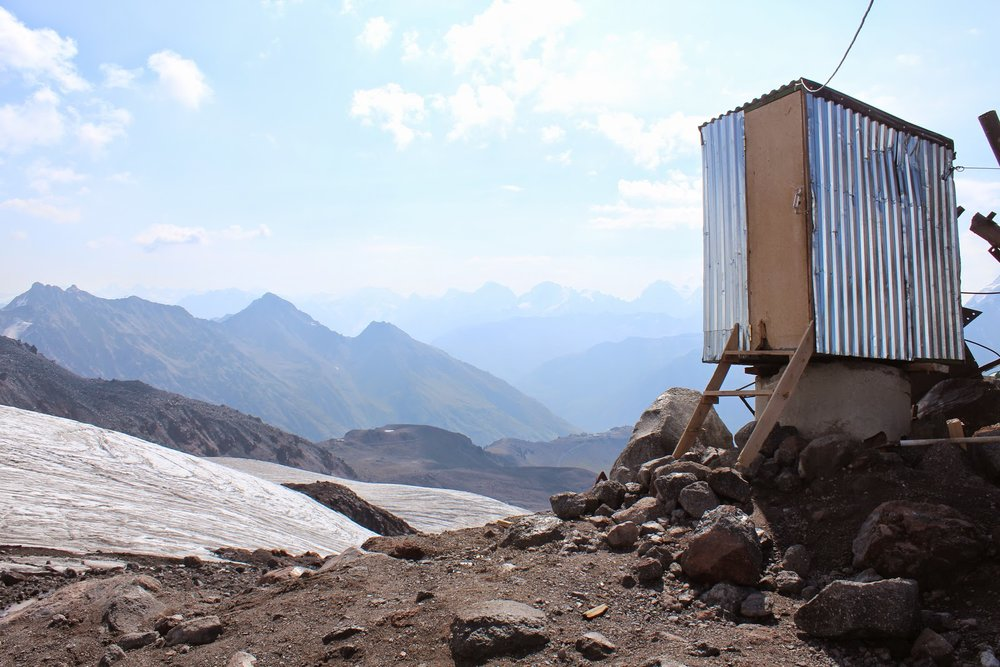 An outhouse with a view on Mount Elbrus
