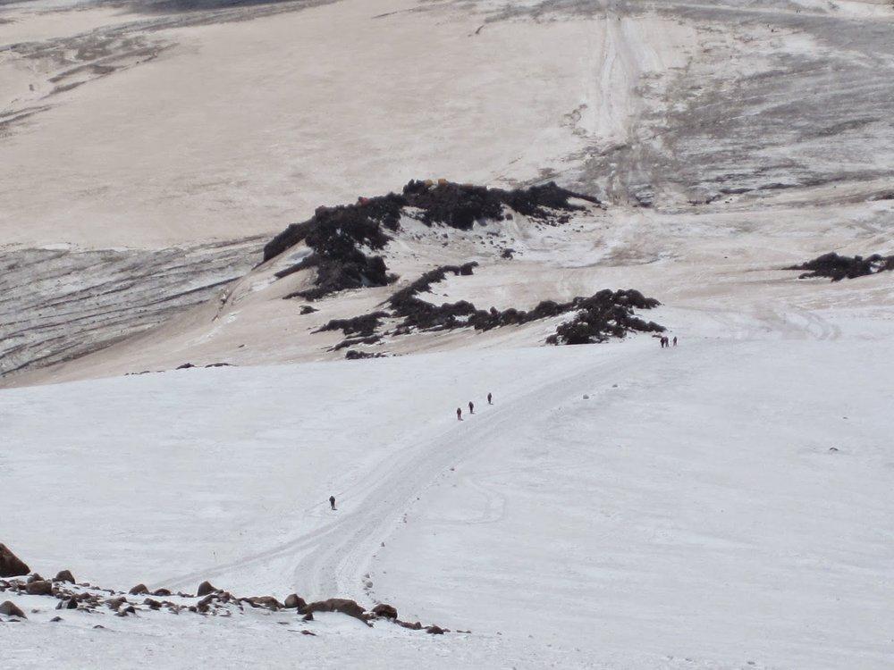 Hikers on Mount Elbrus