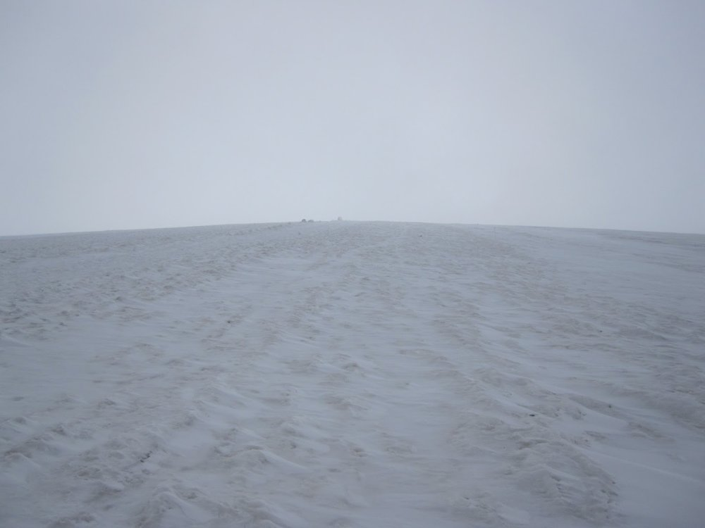 Walking in the clouds on Mount Elbrus. We have decent visibility here, but on summit day it was terrible!