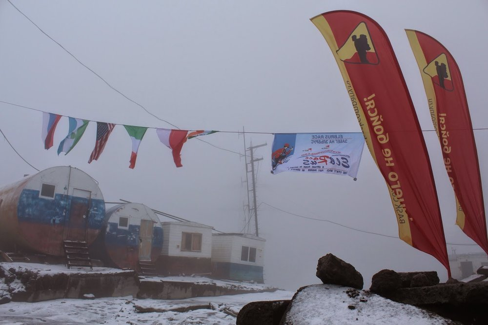 In the clouds and snowing at Mount Elbrus base camp.