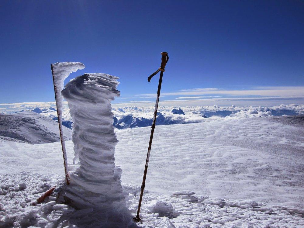 Rime ice on the summit of Mount Elbrus