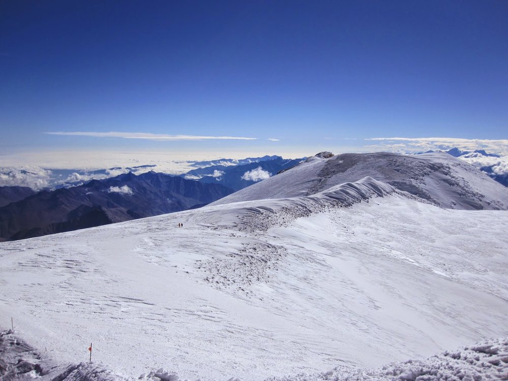 On our way down, looking at the lower east summit of Mount Elbrus
