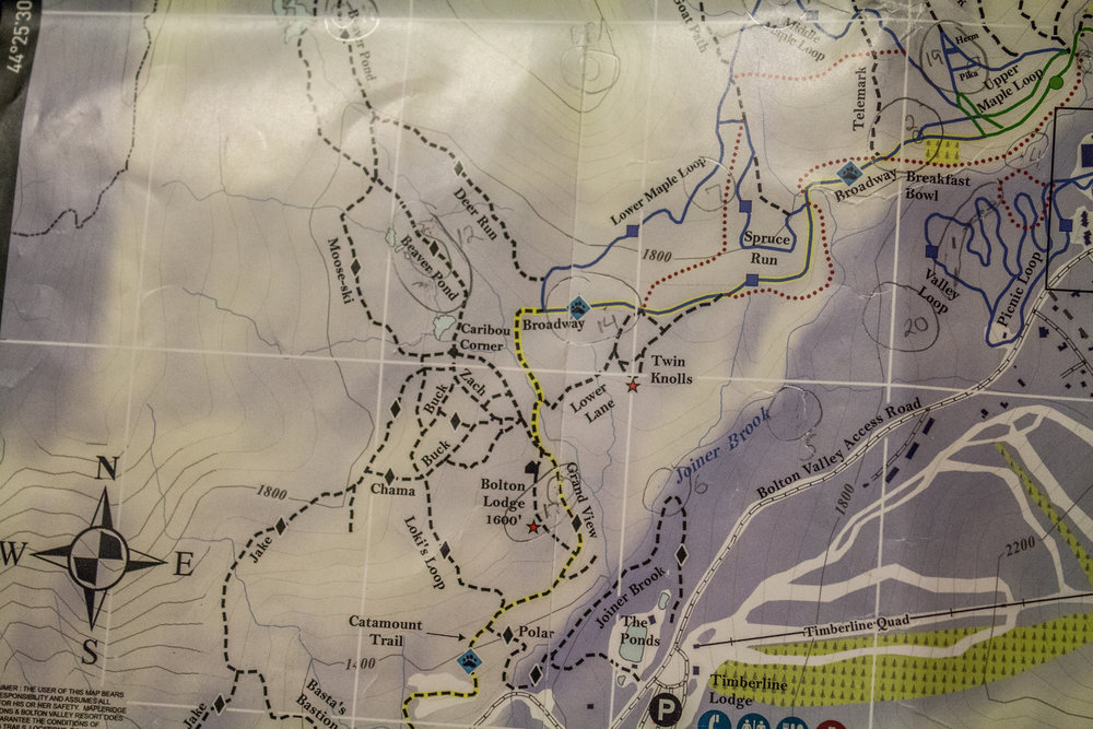 The bottom center part of the map shows some trails around the ponds with black dotted lines. Yeah... those trails weren't what I was expecting...
