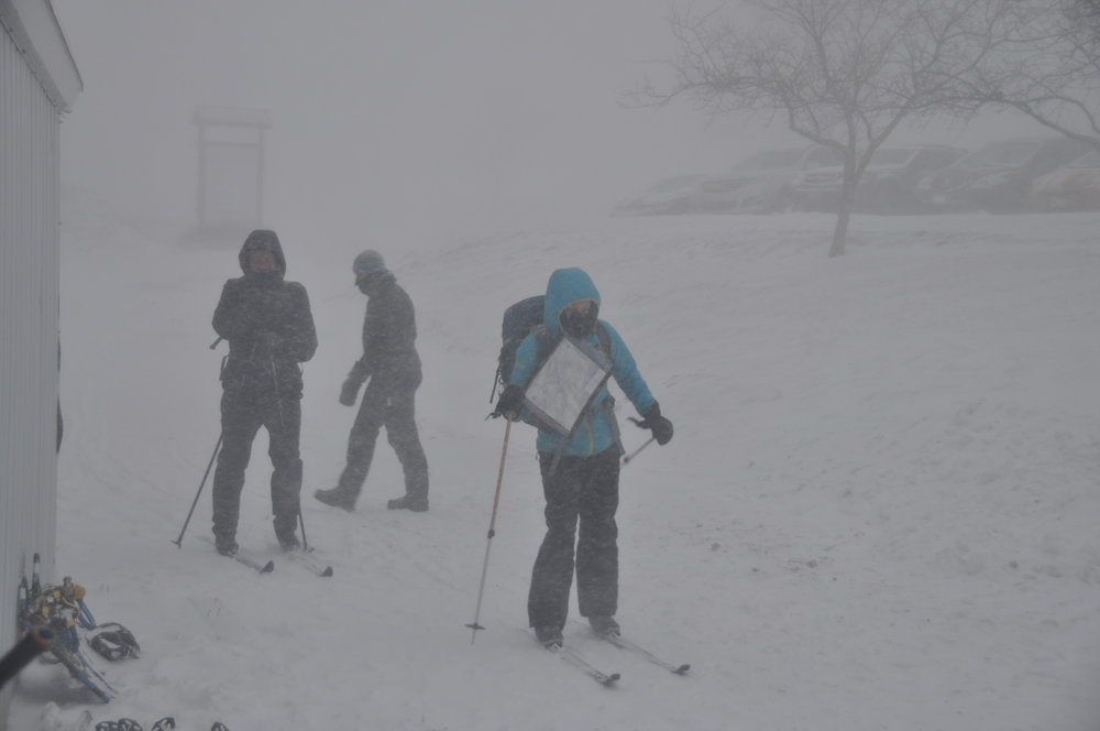 Going off on our skis. It was windy and a bit chilly on our faces! Photo courtesy of GMARA.