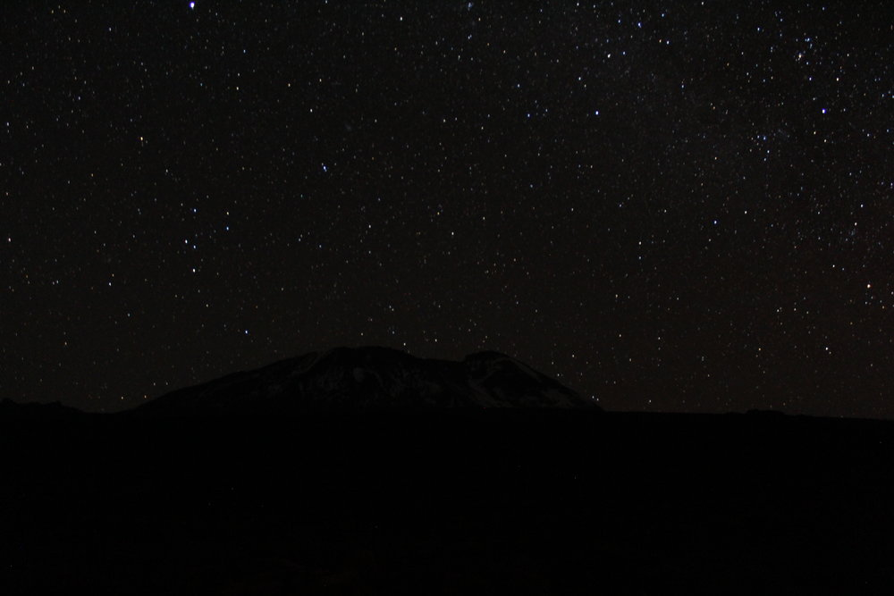 Nighttime view of the stars over Mount Kilimanjaro at Shira Camp 2