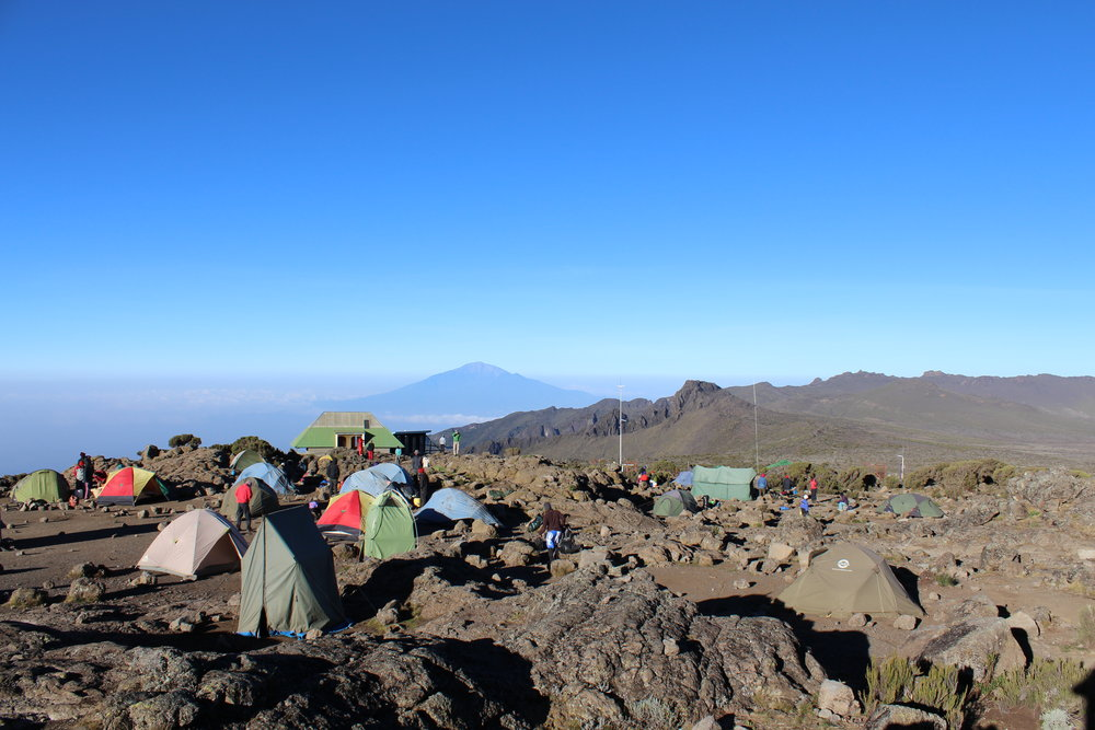 View of Mount Meru from Shira Camp 2