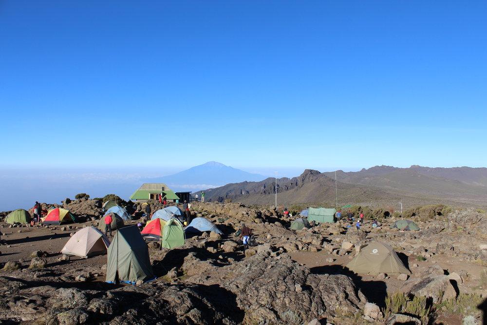 View of Mount Meru from Shira Camp 2