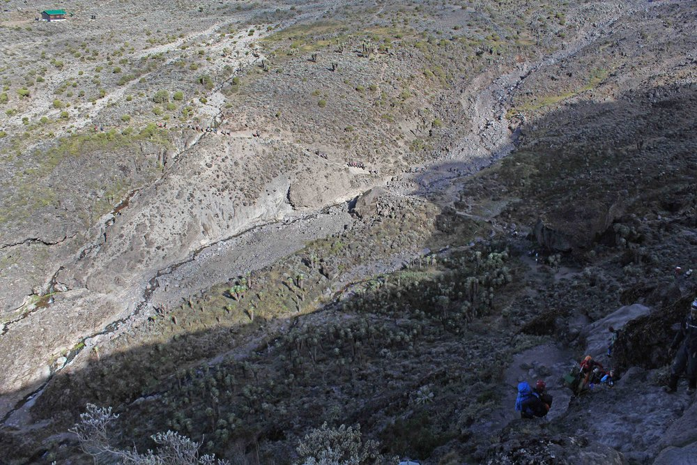 Looking down on last night's camp from the top of the Barranco Wall