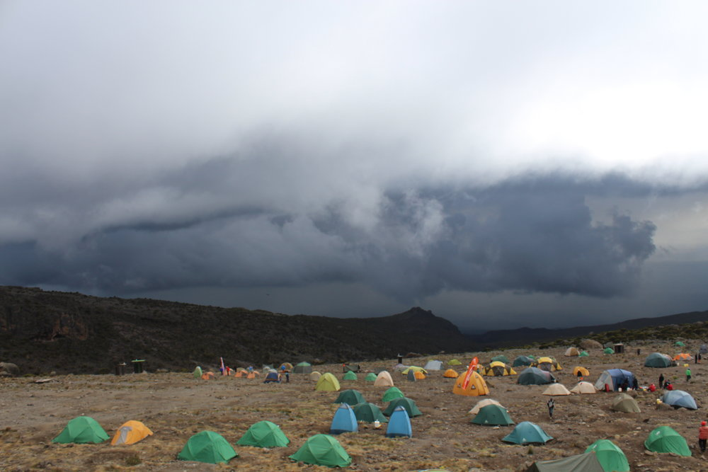 Rain clouds at Karanga Valley Camp