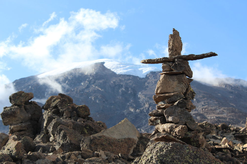 Cool cairn at Barafu Campe with Kilimanjaro in the background
