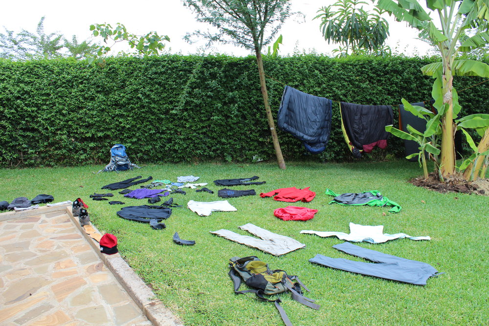 Laying out our clothes to dry