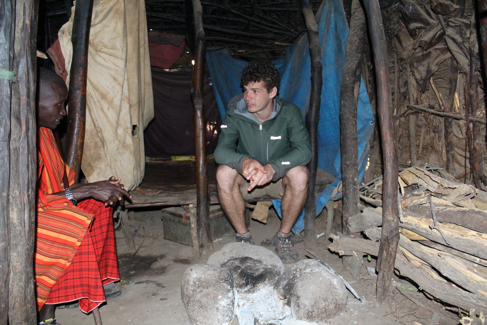 Inside of Massai mud hut