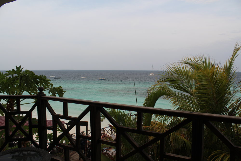 View from our room at Langi Langi Beach Bungalows in Zanzibar