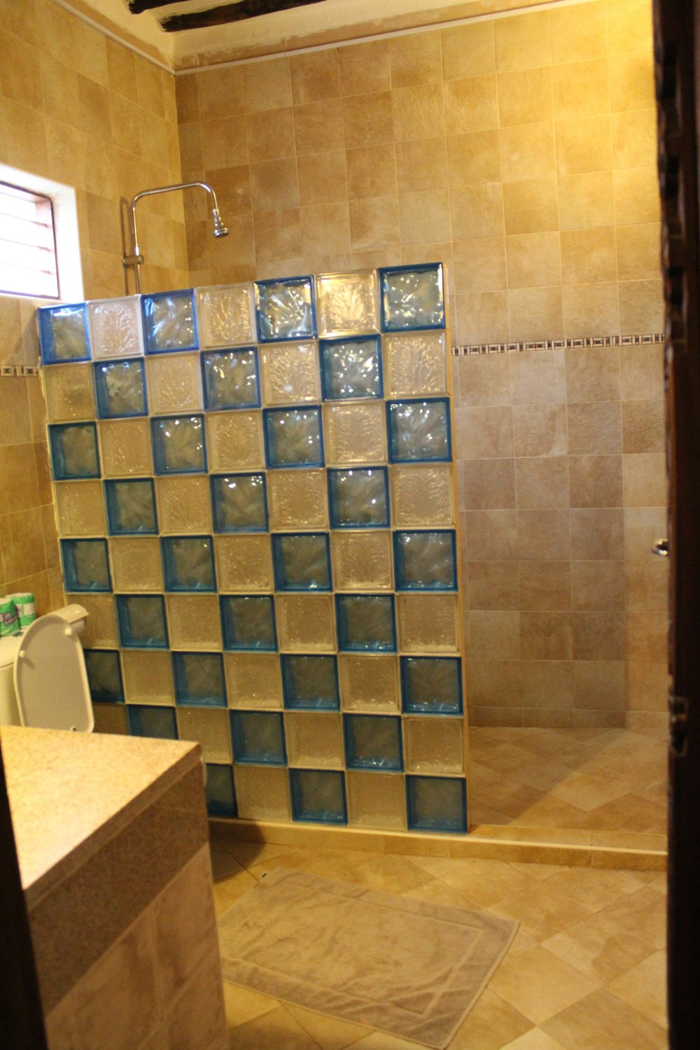Cool shower at Langi Langi Beach Bungalows in Zanzibar