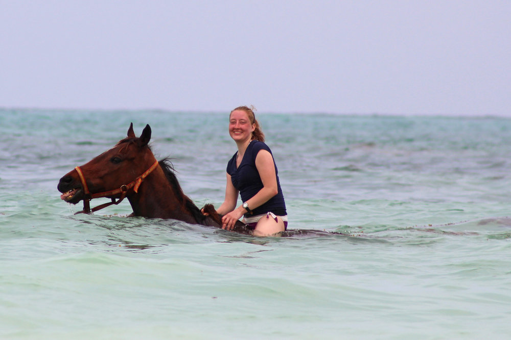 Swimming on horseback in the ocean in Kiwengwa, Zanzibar.